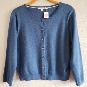 Boden | Cotton Blue Button Down Cardigan US 10 NWT